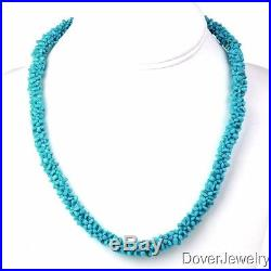 Estate 1.70ct Sleeping Beauty Turquoise 14K Cluster 19.5 Necklace 38.8 Gr NR