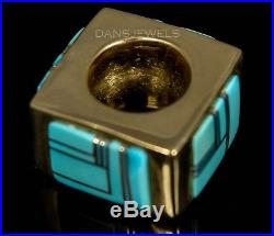 Estate 14K Yellow Gold Sleeping Beauty Turquoise Bold Necklace Pendant Slide