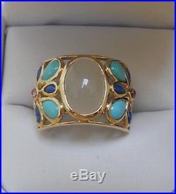 Estate 14k Moonstone, Sleeping Beauty Turquoise, Pink Touramaline & Lapis Ring