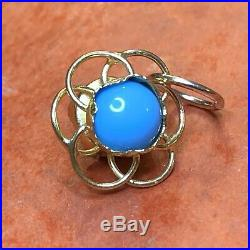 Estate Antique 14k Yellow Gold Turquoise Charm Sleeping Beauty Turquoise 3-d