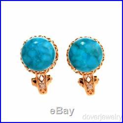 Estate Diamond Sleeping Beauty Turquoise 14K Yellow Gold Crown Stud Earrings NR