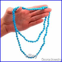 Estate Sleeping Beauty Turquoise 14K Gold Long Beads Necklace 41.9 Grams NR