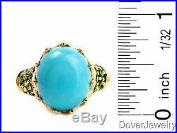Estate Sleeping Beauty Turquoise Tsavorite 14K Yellow Gold Ring 5.5 Grams NR