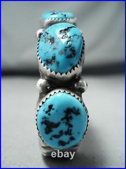 Exceptional Vintage Navajo Sleeping Beauty Turquoise Sterling Silver Bracelet