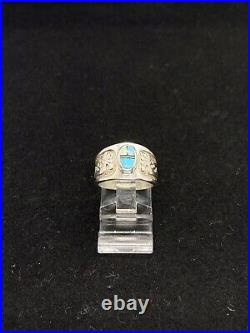 Exquisite Sleeping Beauty Turquoise & Opal Inlay Kokopelli Sterling Ring Size 5