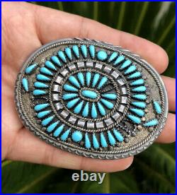 F. M. Begay Navajo Sterling Silver Sleeping Beauty Turquoise Cluster Belt Buckle
