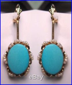 Finest Vintage Estate 14k Gold Seed Pearls Sleeping Beauty Turquoise Earrings