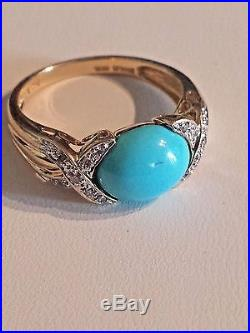 Fabulous 14K Yellow Gold Sleeping Beauty Turquoise Diamond Ring