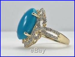 Fabulous Sleeping Beauty Turquoise (9.8ct) & Diamond 14K Gold Ring, New, Sz 8
