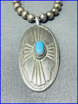 Fabulous Vintage Navajo Sleeping Beauty Turquoise Sterling Silver Necklace