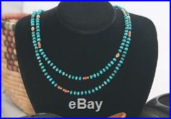 Faceted Sleeping Beauty Turquoise & Blk Spinel Necklace with Coral & 14K- 2 strand