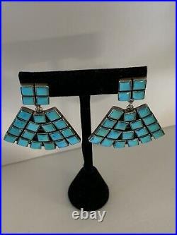 Federico Jimenez Large Sleeping Beauty Turquoise Earrings