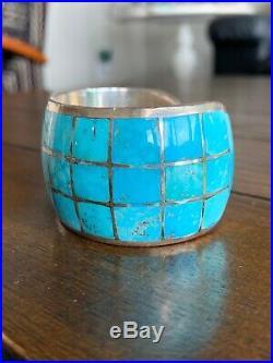 Federico Jimenez Triple Row Sterling Silver/Sleeping Beauty Turquoise Bracelet