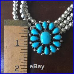 Flower Sleeping Beauty Turquoise Necklace choker Triple Beads Navajo Signed