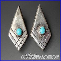 Floyd Arviso Navajo Sterling Silver Sleeping Beauty Turquoise Kite Post Earrings
