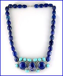 Gemstone Necklace Lapis & Sleeping Beauty Turquoise In Silver Amazing Jewelry
