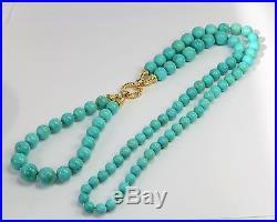 GIA 18K Yellow Gold Diamond Sleeping Beauty Turquoise Round Bead Long Necklace