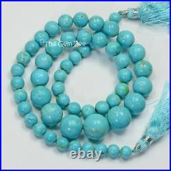 GIA 6.5MM-13.1MM Sleeping Beauty Turquoise Smooth Round Beads 17.3 inch strand