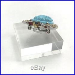 Gems En Vogue Michael Valitutti 925 Silver Sleeping Beauty Turquoise Pendant Pin