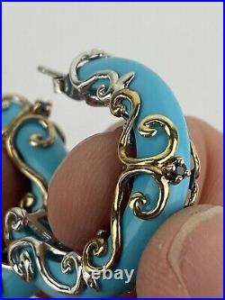 Gems En Vogue Michael Valitutti Sterling Sleeping Beauty Turquoise Hoop Earrings
