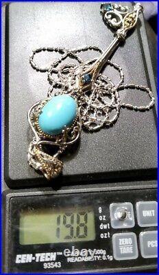 Gems En Vogue Michael valitutti Sterling silver Sleeping Beauty Turq Key Pendant