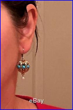 Gems En Vogue Sleeping Beauty Turquoise, Pearl Earrings, Sterling/Palladium 925