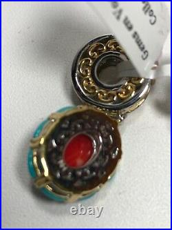 Gems en Vogue Bamboo Coral & Sleeping Beauty Turquoise Drop Charm free shipping