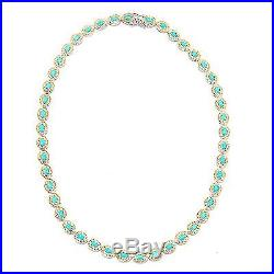 Gems en Vogue Oval Sleeping Beauty Turquoise Tennis Necklace, Sterling Silver 925