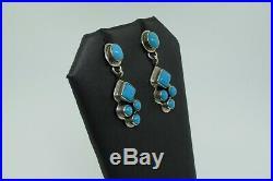 Geneva Apachito Sterling Silver Sleeping Beauty Turquoise Post Dangle Earrings