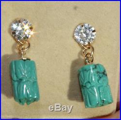 Genuine 14k Carved Petite Turquoise Sleeping Beauty Drop Earrings Jackets