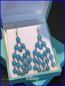 Genuine AAA Sleeping Beauty Turquoise Chandelier Sterling Silver Earrings HSN