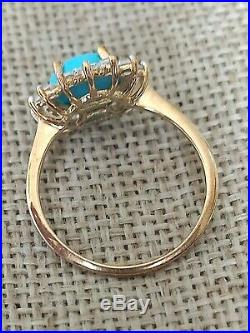 Genuine Natural Sleeping beauty turquoise halo engagement ring solid 9ct gold