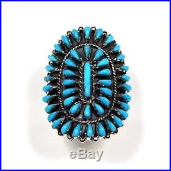 Genuine Sleeping Beauty Turquoise 925 Sterling Silver Petit Point Ring size 8