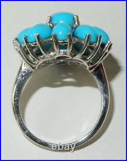 Genuine Sleeping Beauty Turquoise Cluster Ring In Platinum Overlay 925 Ss Sz 6