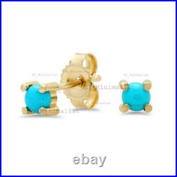 Genuine Sleeping Beauty Turquoise Gemstone Dainty Stud Earrings Solid 14K Gold