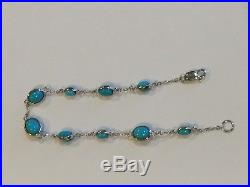 Genuine Sleeping Beauty Turquoise Oval Station Sterling Silver Bracelet 7.5 Inch