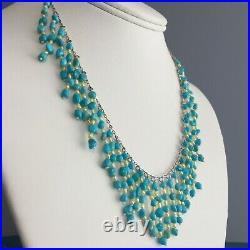Genuine Sleeping Beauty Turquoise & Pearl Fringe Style 925 Silver Necklace 16+2