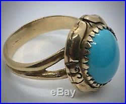 Genuine Sleeping Beauty Turquoise Sz 6.5 Ring in Antique 14K YG Setting, 4.9g