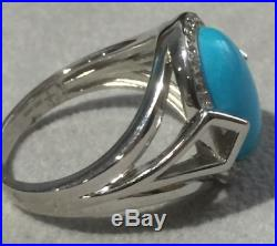 Genuine Sleeping Beauty Turquoise & White Topaz Sterling Silver Ring Size 8