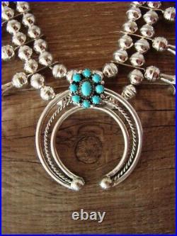 Genuine Small Navajo Sterling Silver Sleeping Beauty Turquoise Squash Blossom