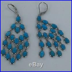 Genuine Top Blue Sleeping Beauty Turquoise Chandelier Sterling Silver Earrings