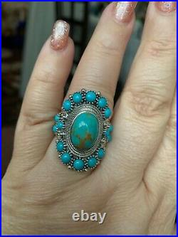 Genuine kingsman turquoise and sleeping beauty turquoise sterling silver ring