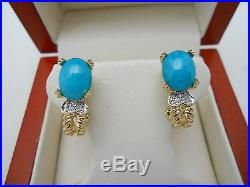 Gorgeous 14k Solid Gold Sleeping Beauty Turquoise Diamond Omega Earrings NO RES