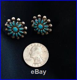 Gorgeous 1940's Vintage Zuni Sleeping Beauty Turquoise Snowflake earrings