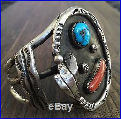 Gorgeous Heavy Vintage Navajo Sleeping Beauty Turquoise, Coral & Sterling Cuff