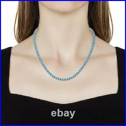 Gorgeous Sleeping Beauty Turquoise Tennis Necklace 18 in 14kt White Gold Over