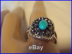 Graziela Gems Sleeping Beauty Turquoise & Tanzanite Sterling Ring 7 NWT QVC