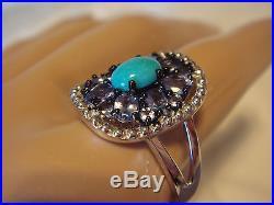 Graziela Gems Sleeping Beauty Turquoise & Tanzanite Sterling Ring 8 NWT QVC
