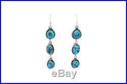 H Etsitty, Dangle Earrings, Sleeping Beauty Turquoise, Navajo Handmade, 2.75
