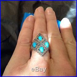 HSN Rarities Carol Brodie Sleeping Beauty Turquoise & Diamond Ring, Size 8